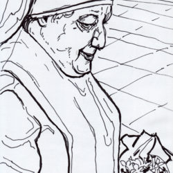 189 Nun With Flowers In Liverpool Train Station