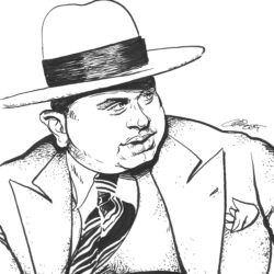 Al Capone Pen Brush Drawing