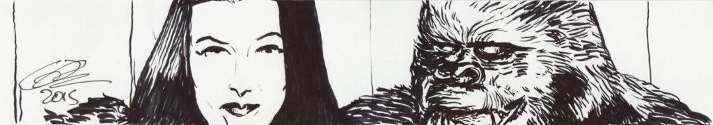 Morticia Addams and Gorilla