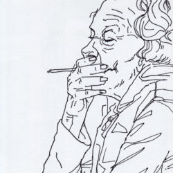 185 Old Woman Smoking A Snag In London