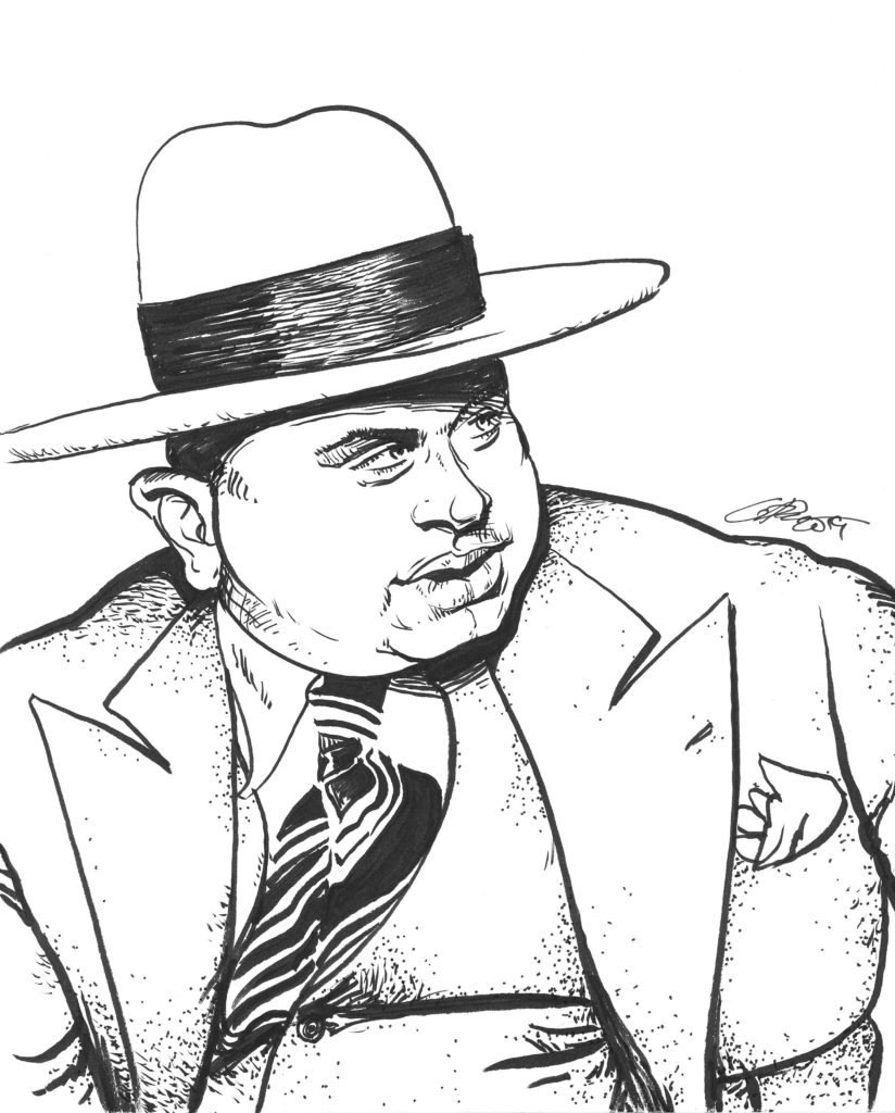 Al Capone Pen Brush Drawing